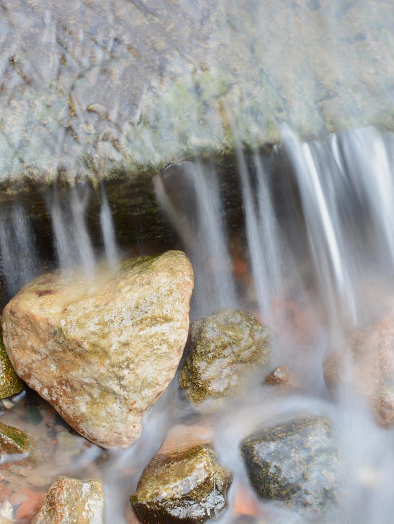 Fresh water flowing over rocks